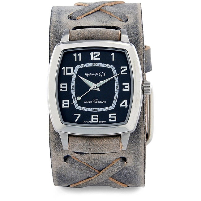 Nemesis Men's Vintage Charcoal Leather Band Watch