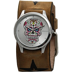 Nemesis Women's Sugar Skull Leather Cuff Watch - Thumbnail 0