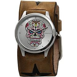 Nemesis Women's Sugar Skull Leather Cuff Watch