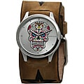 Nemesis Women's Sugar Skull Leather Cuff Watch