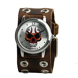 Nemesis Men's Silvertone Skull Watch