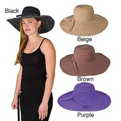 Handmade Grosgrain Ribbon Crushable 5.5-inch Brimmed Travel Sun Hat (China)