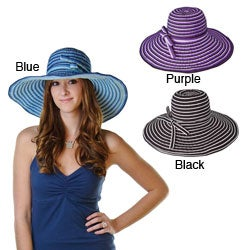 Handmade Grosgrain Ribbon Crushable 5.5-Inch Brimmed Striped Travel Sun Hat (China)