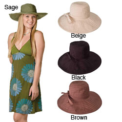Handmade Solid-Colored Crushable 4.5-Inch Brimmed Travel Sun Hat with Grosgrain Ribbon (China)