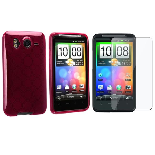 Clear Frost Wine Circle TPU Case/ Screen Protector for HTC Desire HD
