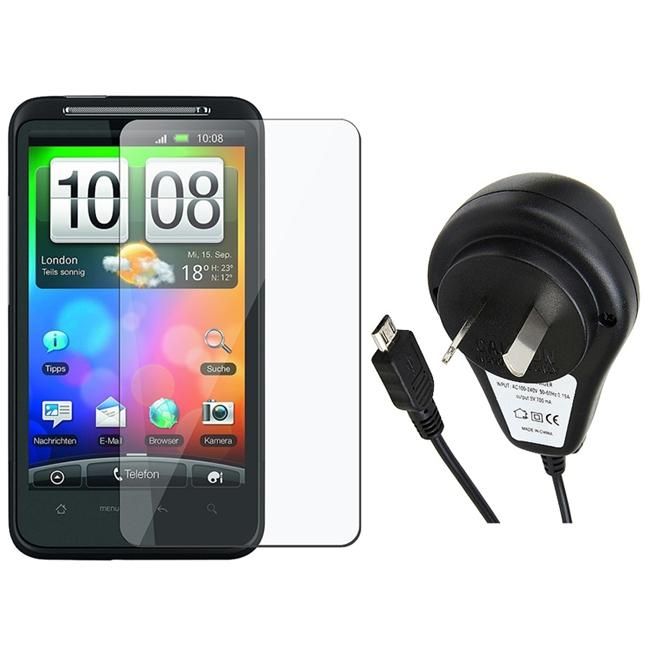 Insten Australia Travel Charger/ Screen Protector for HTC Desire HD