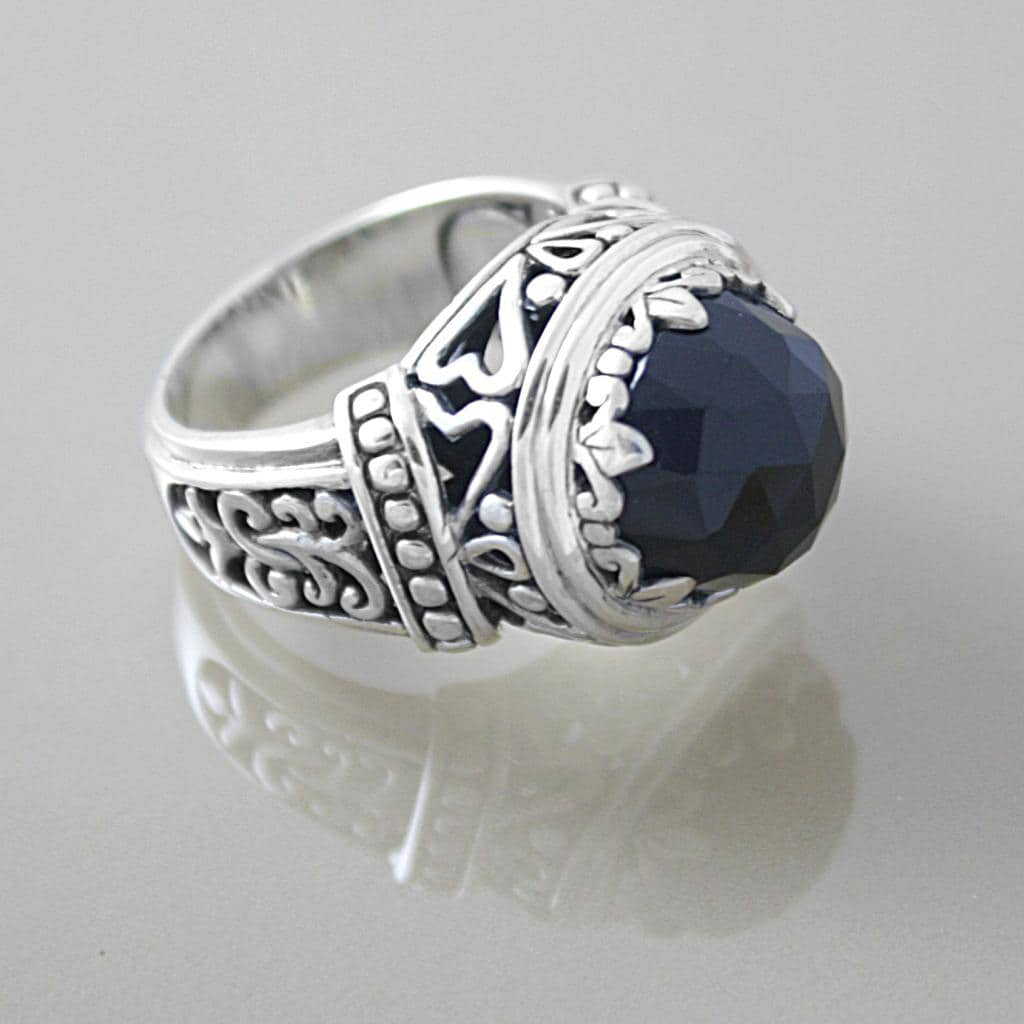 Sterling Silver Faceted Black Onyx Dome Bali Ring (Indonesia)