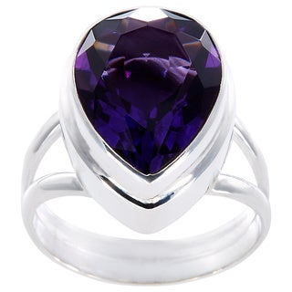 Handmade Sterling Silver Faceted Pear-shaped Amethyst Ring (Indonesia)