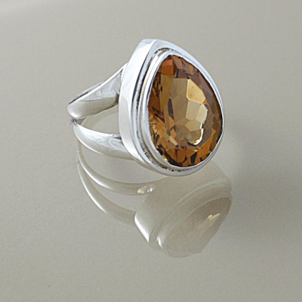 Handmade Sterling Silver Faceted Citrine Almond Drop Ring (Indonesia)