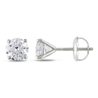 Miadora Signature Collection 14k White Gold 1 1/2ct TDW Certified Diamond Stud Earrings