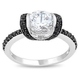 M by Miadora Sterling Silver White and Black Cubic Zirconia Engagement-style Ring