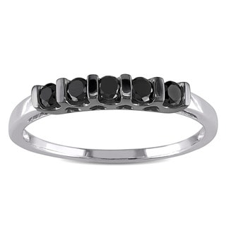 Miadora Sterling Silver 1/4ct TDW Black Round Diamond Ring