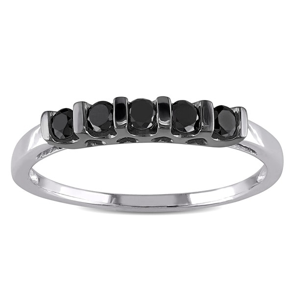 Miadora Sterling Silver 1/4ct TDW Black Round Diamond Ring
