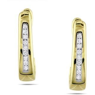 Miadora 10k Yellow Gold 1/10ct TDW Diamond Hoop Earrings
