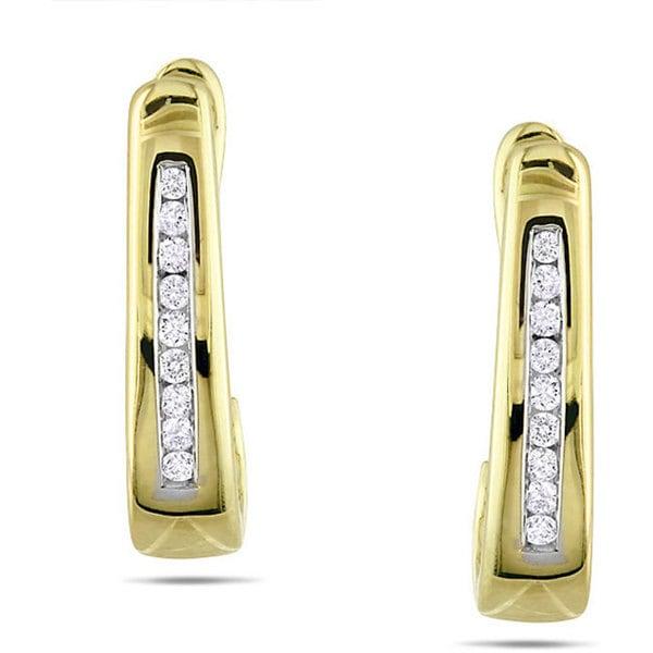 Miadora 10k Yellow Gold 1/10ct TDW Diamond Hoop Earrings (G-H, I2-I3)