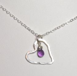AEB Design Fine Silver Large Free-floating Heart Amethyst Necklace