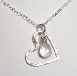 AEB Design Fine Silver Large Free-floating Heart Rose Quartz Necklace