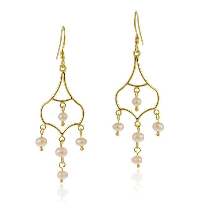 Glitzy Rocks 18k Gold Over Silver Freshwater Pink Pearl Chandelier Earrings