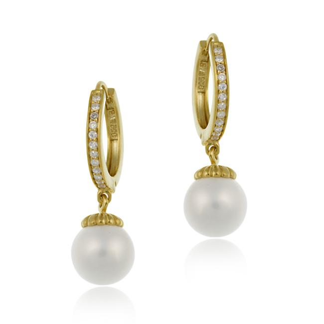 Icz Stonez  18k Gold over Silver Cubic Zirconia and Faux Pearl Earrings