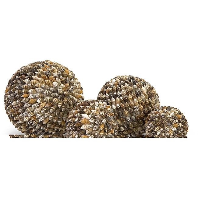 Set of 4 Argento Mini Spiral Shell Decorative Balls