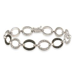 DB Designs Sterling Silver Black Diamond Accent Oval Link Bracelet