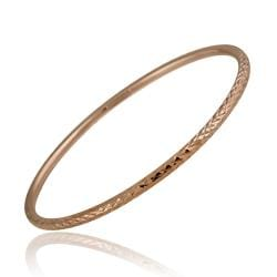Mondevio Rose Gold over Sterling Silver Diamond-cut Bangle Bracelet