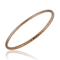 Mondevio Rose Gold over Sterling Silver Diamond-cut Bangle Bracelet