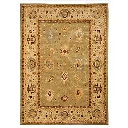 EORC Handcrafted Wool Green Katabagh Rug (5'3 x 7'6)
