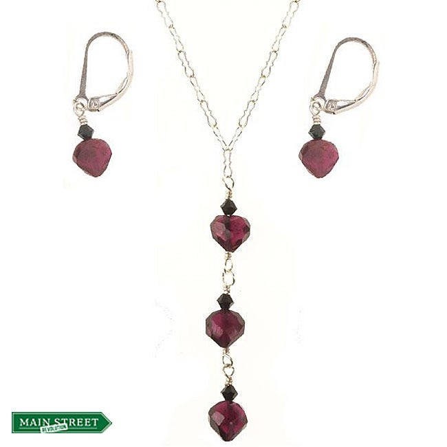 Misha Curtis Sterling Silver Garnet Heart Triple Drop Jewelry S