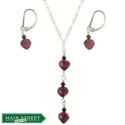 Misha Curtis Sterling Silver Garnet Heart Triple Drop Jewelry S