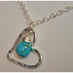 AEB Design Fine Silver Turquoise Large Free-floating Heart Necklace - Thumbnail 1