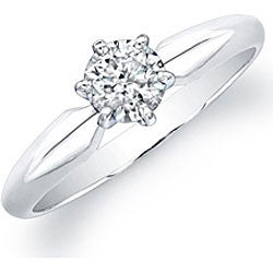 Victoria Kay 14k White Gold 1/2ct TDW Certified Diamond Solitaire Engagement Ring - Thumbnail 1