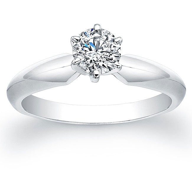 Victoria Kay 14k White Gold 1/2ct TDW Certified Diamond Solitaire Engagement Ring