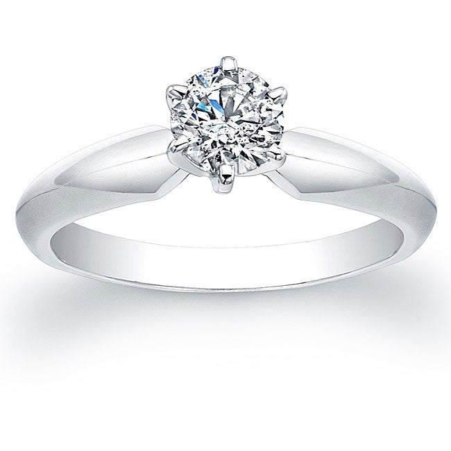 Victoria Kay 14k White Gold 1/2ct TDW Certified Diamond Solitaire Engagement Ring - Thumbnail 0
