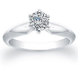 Victoria Kay 14k White Gold 1/2ct TDW Certified Diamond Solitaire Engagement Ring (G-H, SI2-SI3)