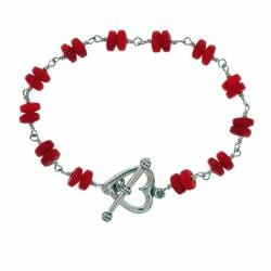 Misha Curtis Sterling Silver Red Sea Bamboo Coral Heart Bracelet