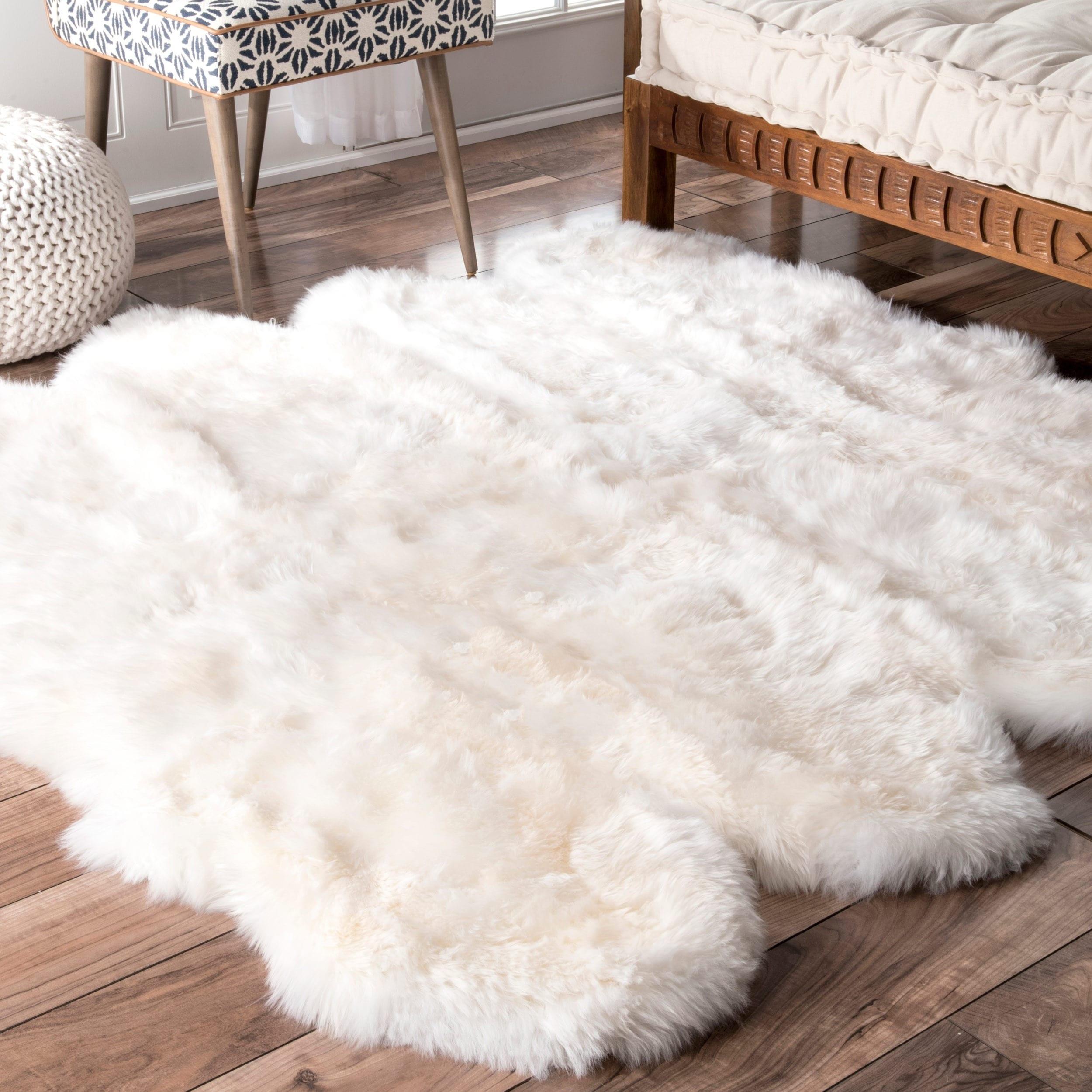 nuLOOM Alexa Octo Sheepskin Wool Eight Pelt Shag Rug, Nat...