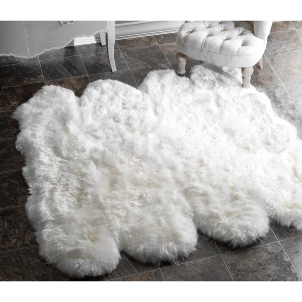 nuLOOM Alexa Octo Sheepskin Wool Eight Pelt Shag Rug