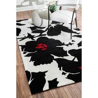 nuLOOM Handmade Pino Black/ White Floral Fantasy Rug (3'6 x 5'6)