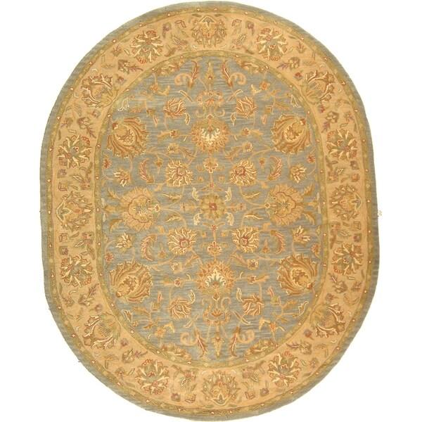 Safavieh Handmade Heritage Traditional Kerman Blue/ Beige Wool Rug (4'6 x 6'6 Oval)