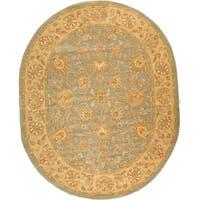"Safavieh Handmade Heritage Traditional Kerman Blue/ Beige Wool Rug - 7'6"" x 9'6"" oval"