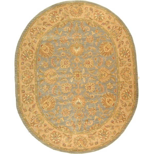 "Safavieh Handmade Heritage Traditional Kerman Blue/ Beige Wool Rug - 7'6"" x 9'6"" oval"