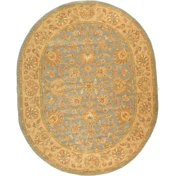 Safavieh Handmade Heritage Traditional Kerman Blue/ Beige Wool Rug (7'6 x 9'6 Oval)