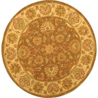Safavieh Handmade Heritage Traditional Kerman Brown/ Ivory Wool Rug (3'6 Round)