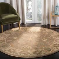 "Safavieh Handmade Heritage Traditional Kerman Brown/ Ivory Wool Rug - 3'6"" x 3'6"" round"