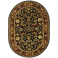 "Safavieh Handmade Heritage Timeless Traditional Black/ Red Wool Rug - 7'6"" x 9'6"" oval"