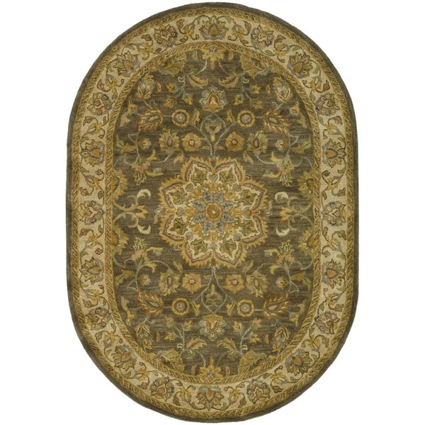 Safavieh Handmade Heritage Timeless Traditional Taupe/ Ivory Wool Rug (7'6 x 9'6 Oval)
