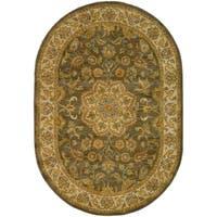 "Safavieh Handmade Heritage Timeless Traditional Taupe/ Ivory Wool Rug - 7'6"" x 9'6"" oval"