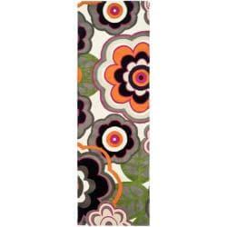 Safavieh Handmade Flower Power Ivory/ Multi N. Z. Wool Runner (2'6 x 6')
