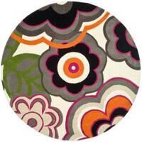 Safavieh Handmade Soho Flower Power Ivory/ Multi N. Z. Wool Rug - 8' X 8' Round